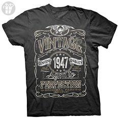 Vintage Aged To Perfection 1947 - Distressed Print - 70th Birthday Gift T-shirt - Black - Birthday shirts (*Amazon Partner-Link)