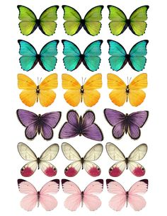 DIY Butterfly Party Favor | Halfpint Design - Colored Butterfly printable. Print PDF file onto white cardstock and cut