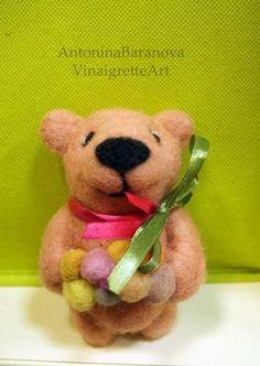 Needle Felted Bear. Toy bear. Felt bear. Easter от VinaigretteArt