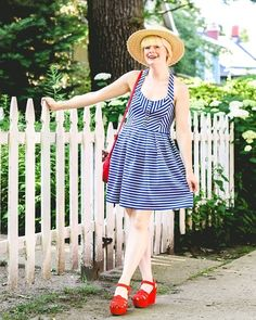 #stripes #nautical #summer #sundress #wedges #hat