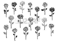 Black and white collection of rose icons in sketch style each one showing a different single long stemmed rose symbolic of love, vector illustration on white - buy this vector on Shutterstock & find other images. Mini Tattoos, Small Tattoos, Rosen Tattoo Klein, Simple Rose Tattoo, Rose Stem Tattoo, Rose Outline Tattoo, Tatoo Rose, Rose Tattoo On Ankle, Rose Tattoo Meaning