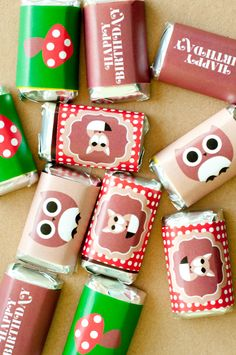 Woodland Birthday Party PRINTABLE Mini Candy Wrappers from Love The Day. $8.00, via Etsy.