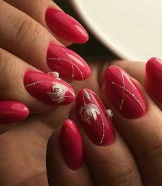 Trendy Nails, Cute Nails, Pink Summer Nails, Bright Red Nails, Red Nail Art, Red Nail Designs, Elegant Nails, Gold Nails, Red Gel Nails