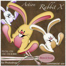 Action - Rabbit X by Rose.li #CUdigitals cudigitals.comcu commercialdigitalscrapscrapbookgraphics