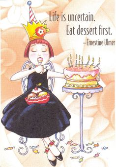 EAT BIRTHDAY CAKE FIRST-Handcrafted Fridge Magnet-Using art by Mary Engelbreit