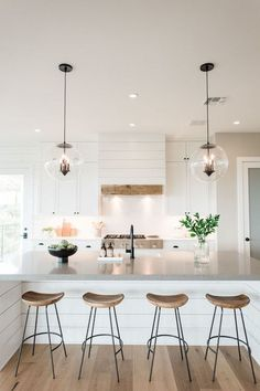 Modern farmhouse kitchen island and hood with shiplap . Modern Farmhouse Kitchen Island and Venting Dome with Shiplap Source. Farmhouse Kitchen Island, Kitchen Island Decor, Modern Farmhouse Kitchens, Modern Farmhouse Style, Home Decor Kitchen, Interior Design Kitchen, New Kitchen, Home Kitchens, Kitchen Dining