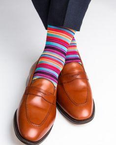 Dapper Classics Clematis Blue, Rose, and Yolk Stripe Mid-Calf Sock