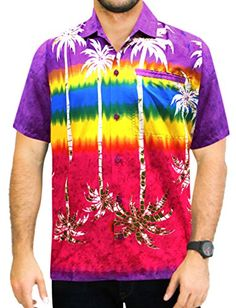 cb6ef31dd Hawaiian Shirt for Men Short Sleeve Front-Pocket Camp Palm Tree Orange  Orange
