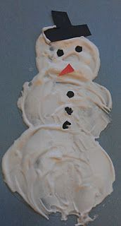 Shaving Cream Snowman -  Pinned by @PediaStaff – Please Visit http://ht.ly/63sNt for all our pediatric therapy pins