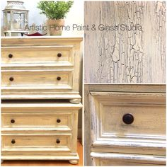 Night stand dressers, painted, crackled and distressed. Re-loved at Artistic Home Paint & Glass Studio.