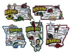 Arkansas Illinois Kansas Missouri Nebraska Usa Map State Magnets