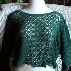Vintage 90s destroyed cut out crop top Rock it in this dark green sporty cover up, awesome over bikini or tank top. Three quarter sleeves with ribbed edging at boat neck and cuffs. Estimate size at 1X but this to is so easy fitting would probably work well for size L through 2X. Tantalizers Tops Crop Tops