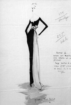 Yves Saint Laurent original design for Dior, fashion images. Christian Dior, Yves Saint Laurent, Fashion Sketchbook, Fashion Sketches, Fashion Images, Fashion Art, Dior Fashion, 1950s Fashion, Vintage Fashion