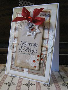 Pretty Merry & Bright Card...with sheet music paper & glittery snowflake embellishment...Riddersholm.