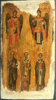Archangels Michael and Gabriel with Saints John the Theologian, Nicholas, and Athanasius Religious Images, Religious Icons, Religious Art, Byzantine Icons, Byzantine Art, Saint Catherine's Monastery, Gabriel, Church Icon, Russian Icons