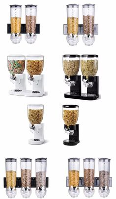 SINGLE DOUBLE TRIPLE WALL MOUNT CEREAL DISPENSER DRY FOOD STORAGE CONTAINER NEW