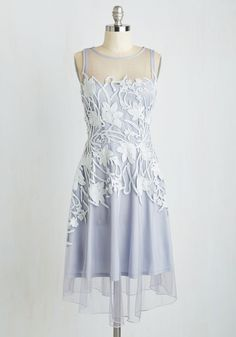 Glances Enchanted Dress by Eva Franco - Grey, Solid, Embroidery, Prom, Wedding, Daytime Party, Bridesmaid, Pastel, A-line, Sleeveless, Best