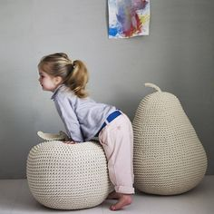 Our brilliantly robust apple and pear pouffes are made from organic crocheted cotton.Available in James' Giant Apple Pouffe or James' Giant Pear Pouffe. Sold Separately.They make a wonderful edition to any nursery or playroom, or a great foot rest for the child in you. Their oversized proportions will turn any room into a fairy tale scene as children clamber and sit upon them. Each piece is handmade and ethically produced in Asia by a team of women who determine their own schedul...