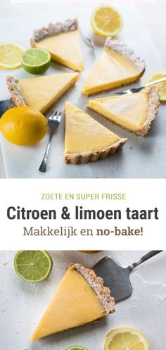 Fresh lemon & lime pie - an easy no-bake recipe!- Frisse citroen- & limoentaart – een makkelijk no-bake recept! fresh curd pie with lemon and lime! Feel Good Food, I Love Food, Lemond Curd, Baking Bad, Food Porn, Lime Cake, Easy Baking Recipes, Dutch Recipes, No Bake Cake