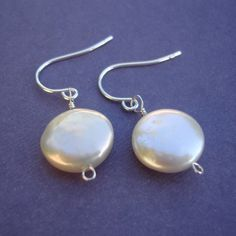 Coin Pearl Earrings, Sterling Silver Wire Wrapped, High Quality Pearls, White Lustre, 12mm - SIMPLICITY