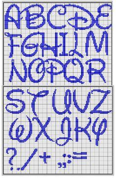 Disney font cross stitch chart alphabet great for crochet too Disney Alphabet, Disney Letters, Cross Stitch Letters, Cross Stitch Charts, Cross Stitch Designs, Stitch Patterns, Cross Stitching, Cross Stitch Embroidery, Lettering