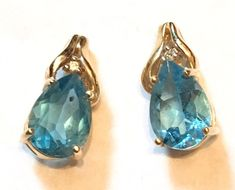 14k Yellow Gold Pear Sky Blue Topaz Piecred Stud Earrings 2.83 G #Stud
