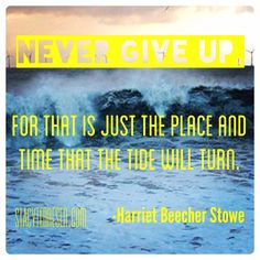 Never give up on your dreams and goals. Motivational Pics, Harriet Beecher Stowe, You Gave Up, Giving Up, Never Give Up, Dreaming Of You, Goals, Dreams, Quotes