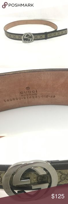 "Gucci Logo Unisex Belt Brown canvas with leather trim Gucci Logo unisex belt with silver Gucci Logo as buckle. 48"" in length without the buckle included in measurement. Has been worn by still a fab purchase to add to your closet! Gucci Accessories Belts"