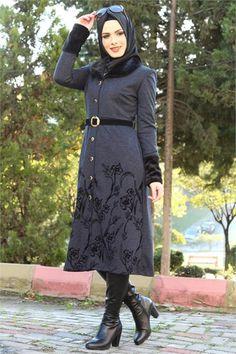 Tesettür Kap Yaka Kürklü Ayşe Melek Lacivert 1083