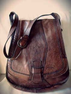 70s Italian Leather Saddle Bag Brown Genuine Soft by NomadicNative,