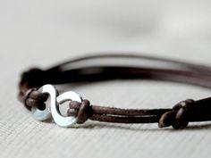 manchannel:    Brown Leather Infinity Bracelet byKosmika.