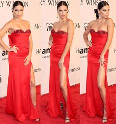 Adriana Lima in a red strapless Marchesa gown