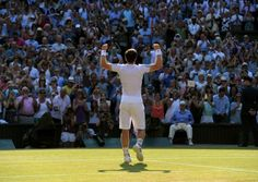 Great Britain's Andy Murray celebrates beating Serbia's Novak Djokovic at Wimbledone. Picture: Adam Davy/PA Wire