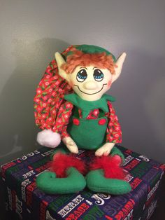 Green and Red   Plush Christmas Elf Doll by AmbersElves on Etsy