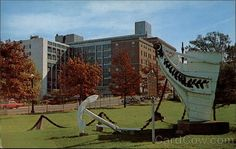 """Bow of the """"Wolverine"""". Hamot Medical Center is in the background."""