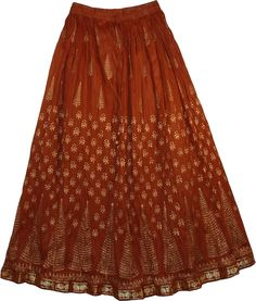 Crinkle Long Summer Skirt in Kenyan Copper TLB (Crinkle, Pueblo Cotton Crisp Long Skirt - This attractive skirt is not only super in quality, elegant, and stylish in designs, its finish is enthralling and gives a 'long sexy look' Modest Fashion, Boho Fashion, Fashion Over Fifty, Indian Skirt, Country Dresses, Fit N Flare Dress, Summer Skirts, Colourful Outfits, Pakistani Dresses