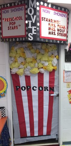 School bulletin board ~ Ready to PoP! Popcorn and Movie