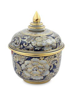 Benjarong porcelain jar, 'Lotus Bud' by NOVICA at Gilt
