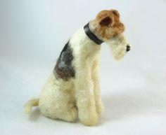 Wire Fox Terrier - OOAK Artist Needle Felted Dog. £60.00, via Etsy.