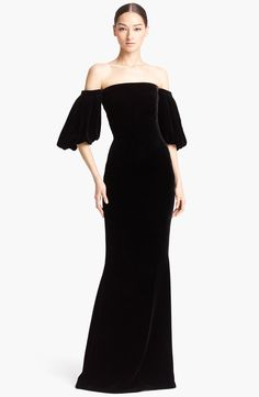 Alexander McQueen Off Shoulder Velvet Gown
