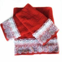Red decorative towel set of 3, Housewarming gift for Christmas, Lace embellished Towels, Shabby Bathroom Decor, Holiday Powder Room Decor by blingscarves. Explore more products on http://blingscarves.etsy.com