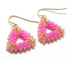 Pink & Gold Mini Triangle Beadwork Earrings.  Now free shipping in the USA!