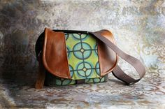 Retro Green Circles and Leather DSLR Camera Bag by Porteen Gear.