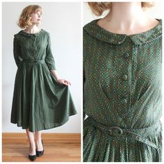 Evergreen Bough Dress 1950s forest green by HopscotchandSoda