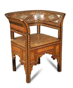 Sale F251115 Lot 827  A late 19th century Damascus armchair, with geometric inlays in various woods and mother-of-pearl h:74 w:64 d:50 cm  - Cheffins