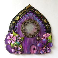 Purple Fairy Door with a Fancy Window and a Pet Door by