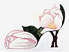 Beautifully hand painted Magnolia Slipper 7.5 X 5.5 on 18ct. Zweigart canvas. Great addition to your slipper collection