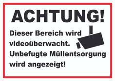 Schild Achtung! Videoüberwachung Müllsentsorgung verboten! #müll #video #schilder #überwachung