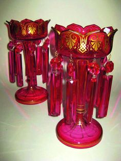 victorian lustres   pair of Victorian ruby glass lustre vases gilded, the lustres…