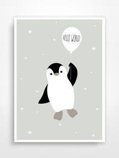 Affiche déco pour chambre d'enfant * Pingouin.
